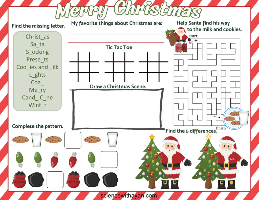 free printable christmas placemat with kids activities