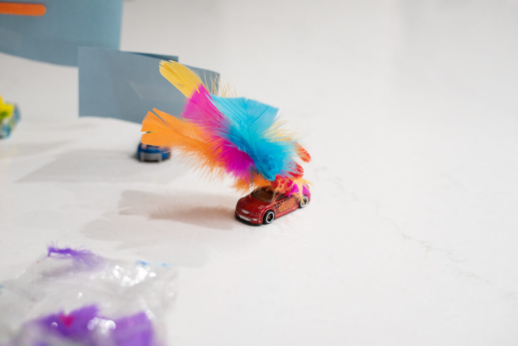 wind powered toy car with sail made from feathers